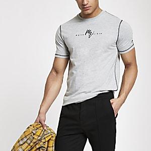 Grey marl 'Maison Riviera' slim fit T-shirt