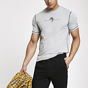 Gemêleerd grijs 'Maison Riviera' slim-fit T-shirt