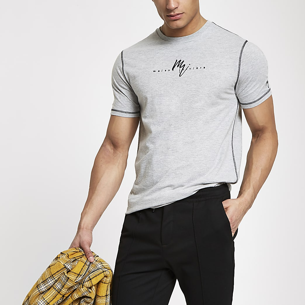Maison Riviera - Grijs gemêleerd slim-fit T-shirt