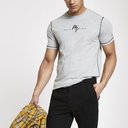 Grey marl Maison Riviera slim fit T-shirt
