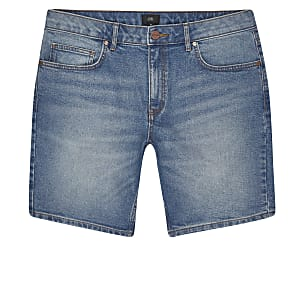 Big and Tall - Blauwe slim-fit denim short