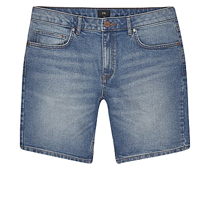 Big and Tall blue slim fit denim shorts