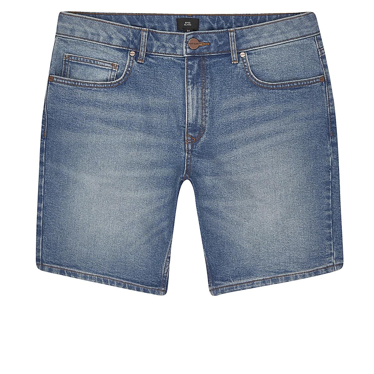 Big and Tall – Short en denim slim bleu