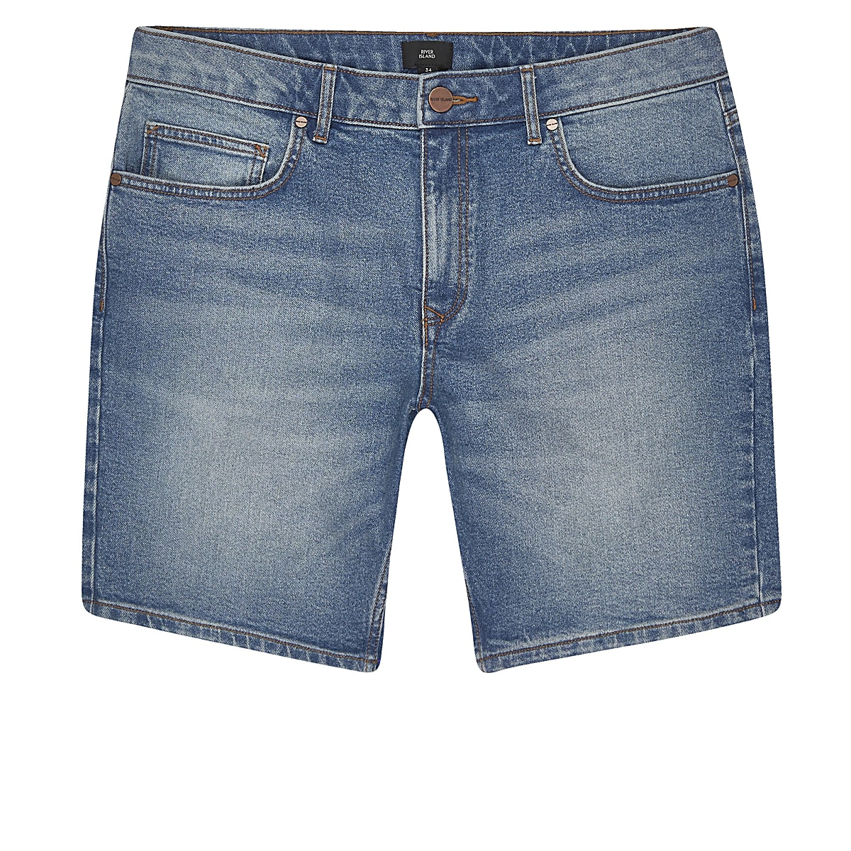 Big and Tall - Blauwe slim-fit denim short