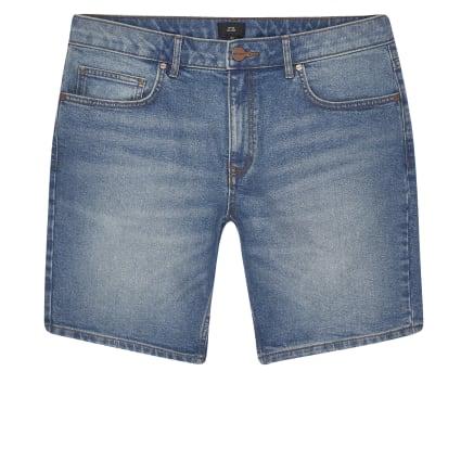 Big and Tall blue slim fit denim shorts