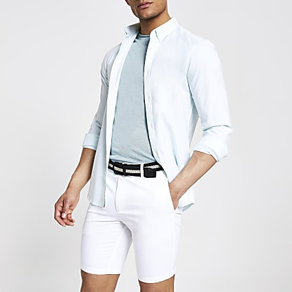 White belted slim fit chino shorts