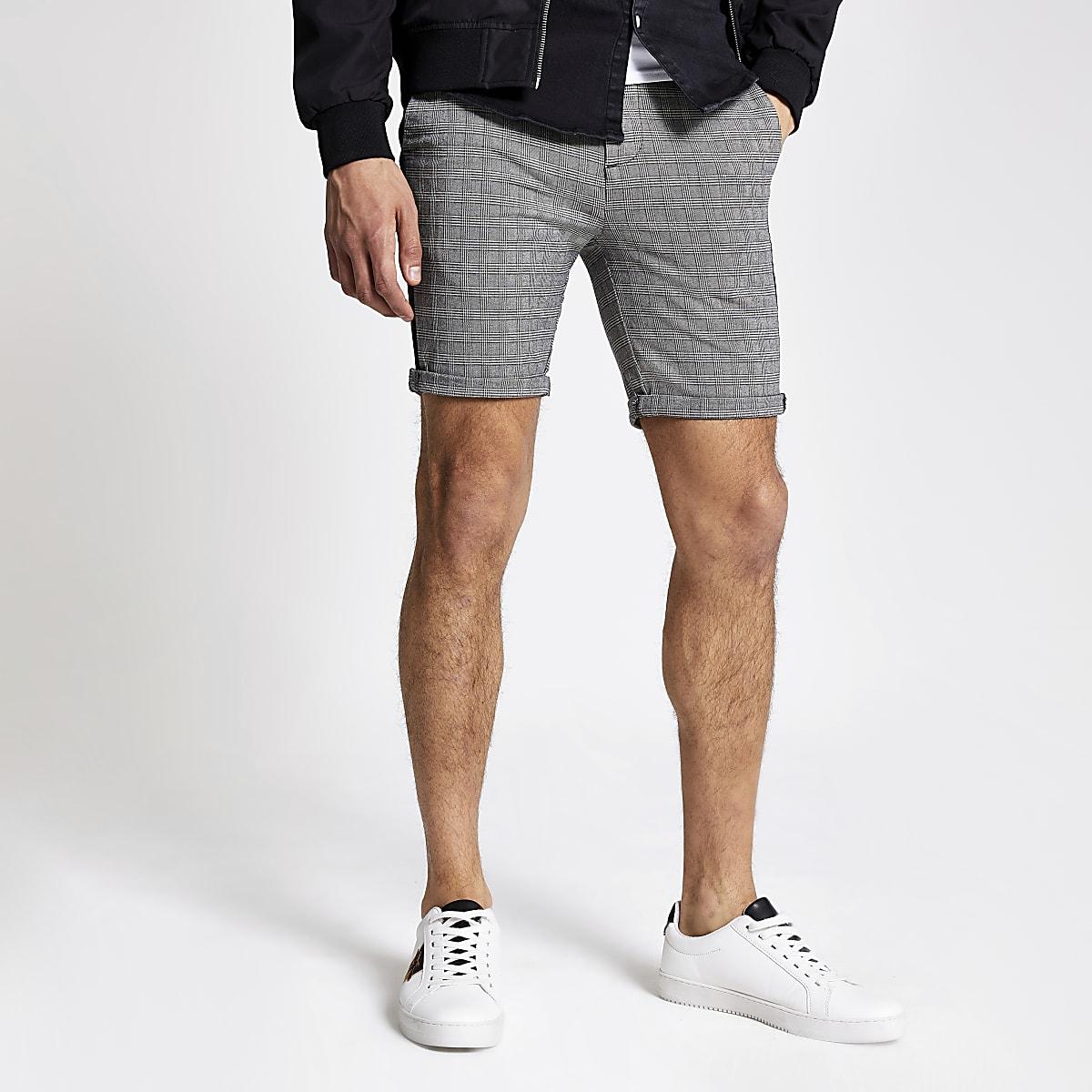 Grey check skinny fit chino shorts