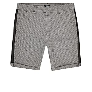Big and Tall grey check skinny shorts