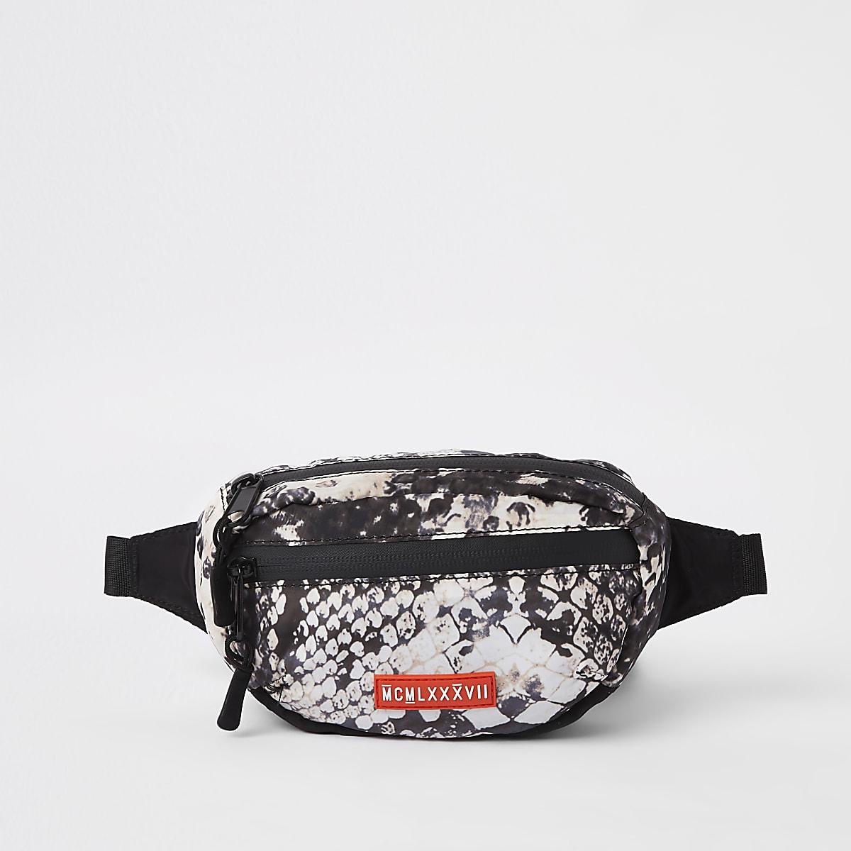 Black snake print micro cross body bag