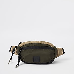 Khaki micro cross body bag