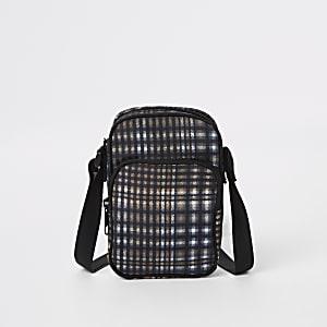 Grey check micro cross body bag