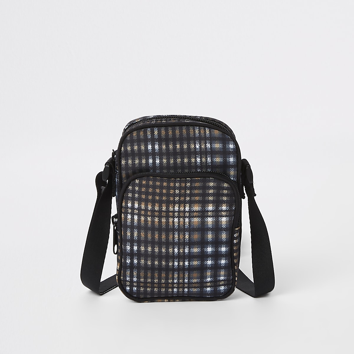 Grey check micro cross body bag