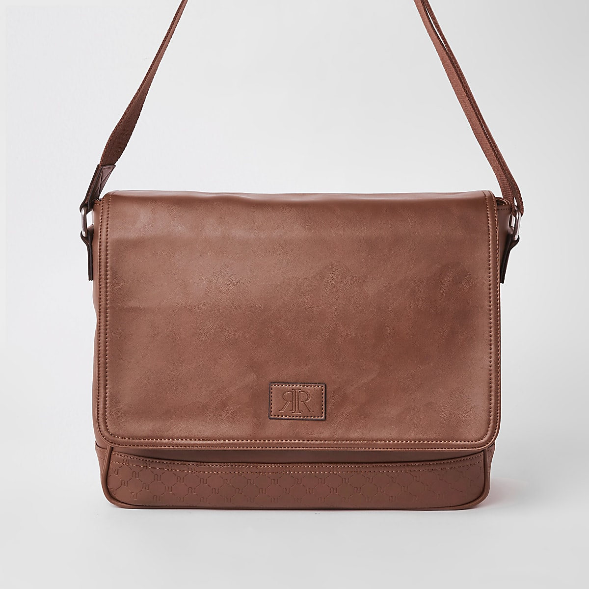 Brown RI monogram flapover satchel bag