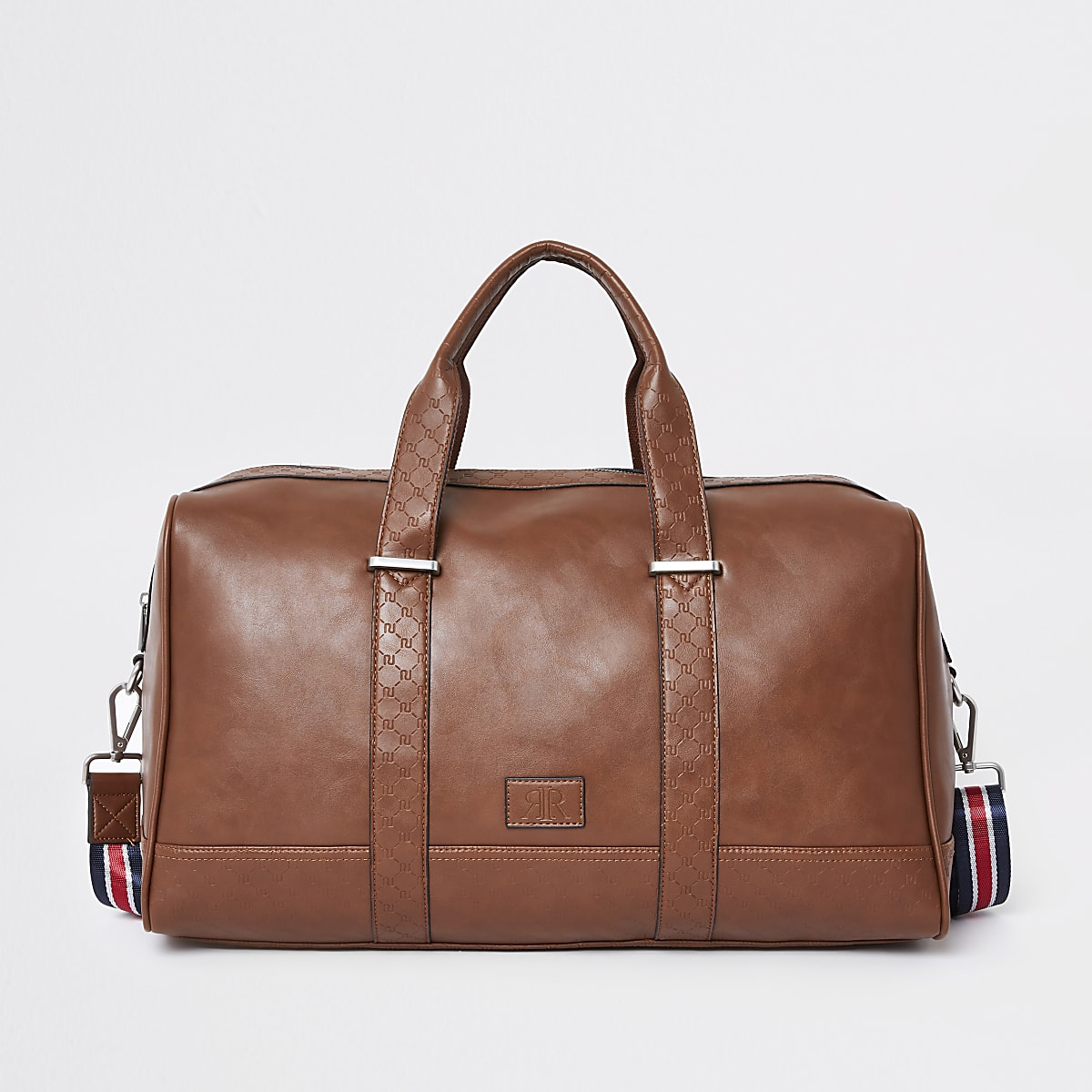 Light brown RI monogram trim holdall