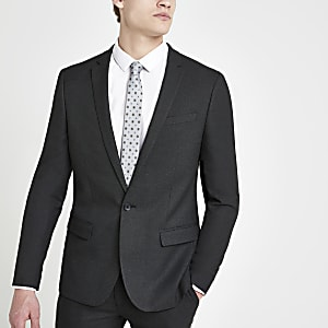 Dark grey textured stretch skinny suit jacket