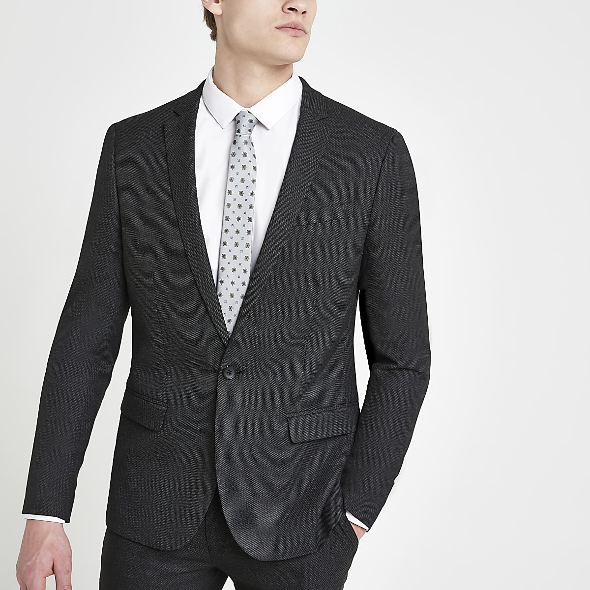 01567330 Dark grey textured stretch skinny suit jacket - Suit Jackets - Suits - men