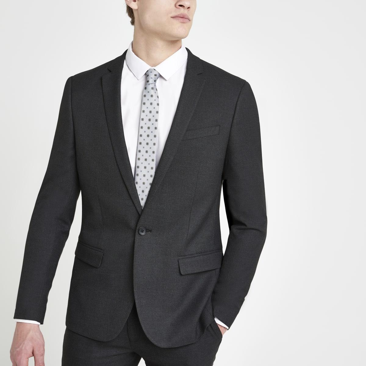 Dark grey textured stretch skinny suit jacket