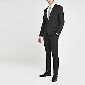 Pantalon de costume skinny gris foncé texturé