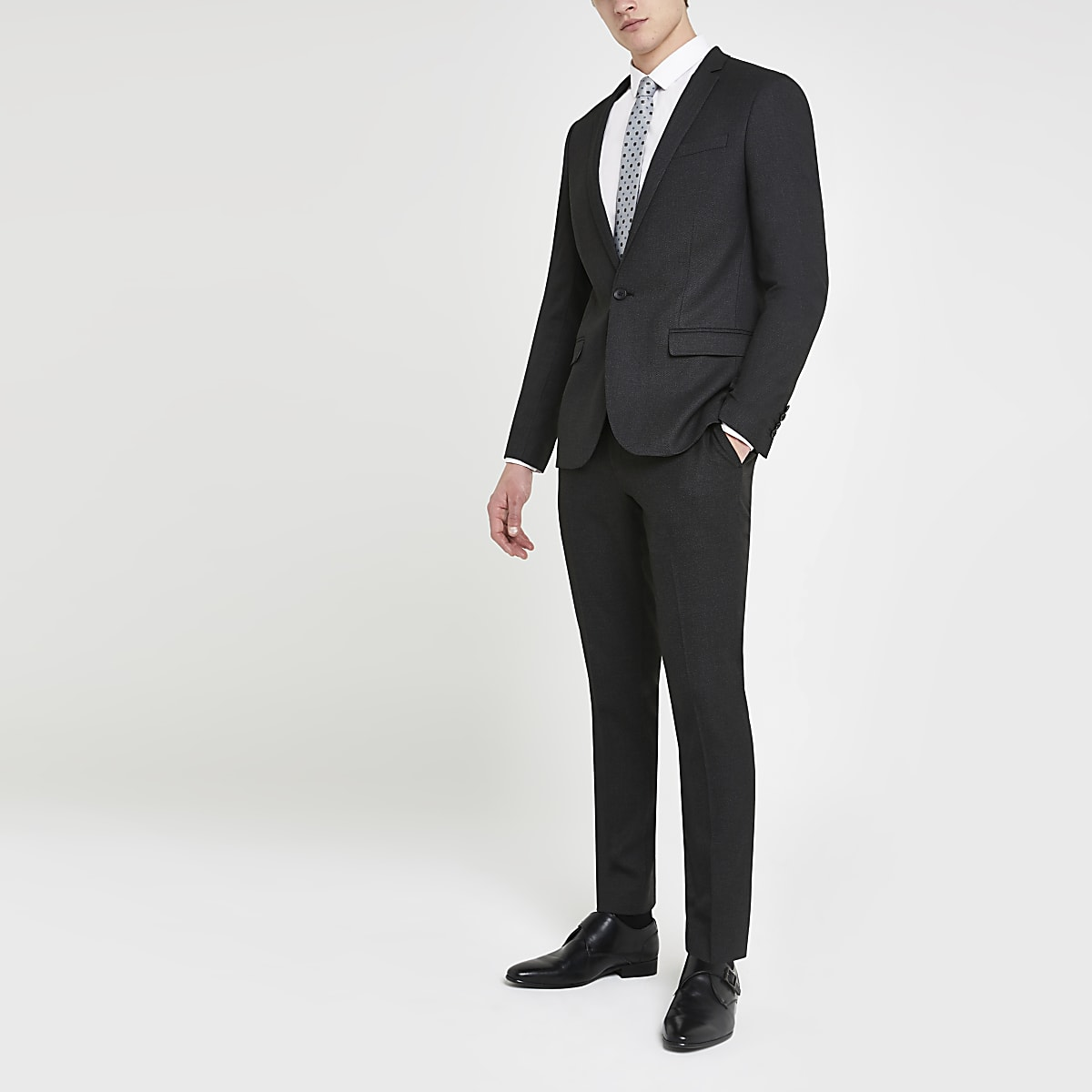 Dark grey textured skinny suit trousers