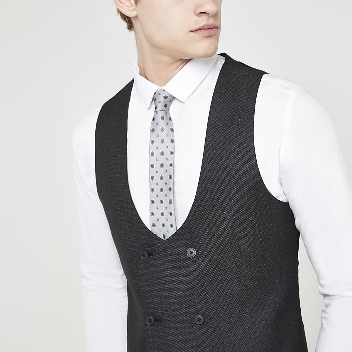 Dark grey textured suit vest