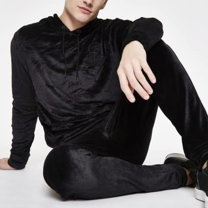 Black R96 velour slim fit hoodie