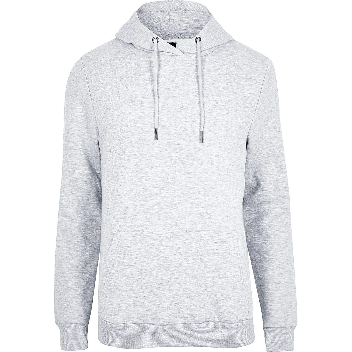 02f008300b Grey marl slim fit long sleeve hoodie - Hoodies - Hoodies ...