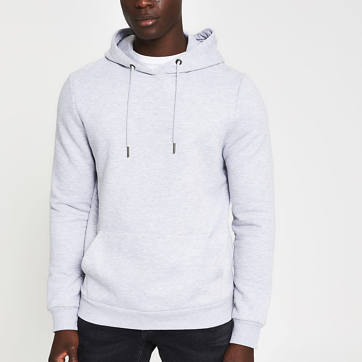 Grey marl slim fit long sleeve hoodie