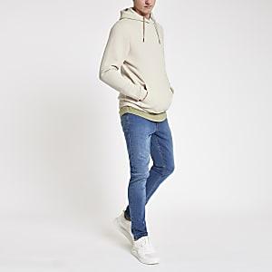 Kiezelkleurige slim-fit hoodie met lange mouwen