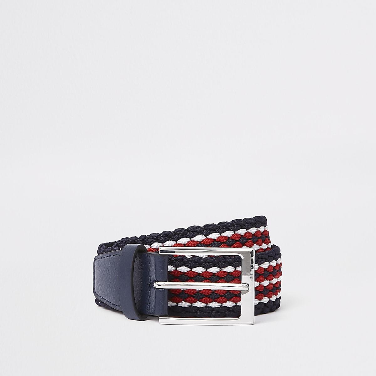 Rood met blauwe 'Prolific' geweven riem met gesp