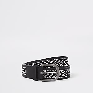 Schwarzer Gürtel mit Azteken-Muster