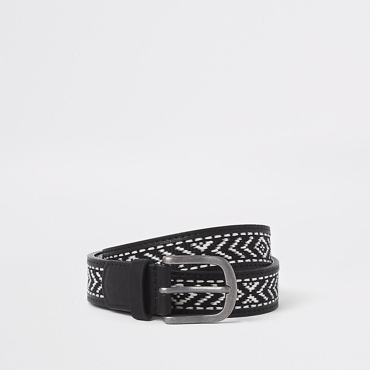 Zwarte geweven riem met aztekenprint