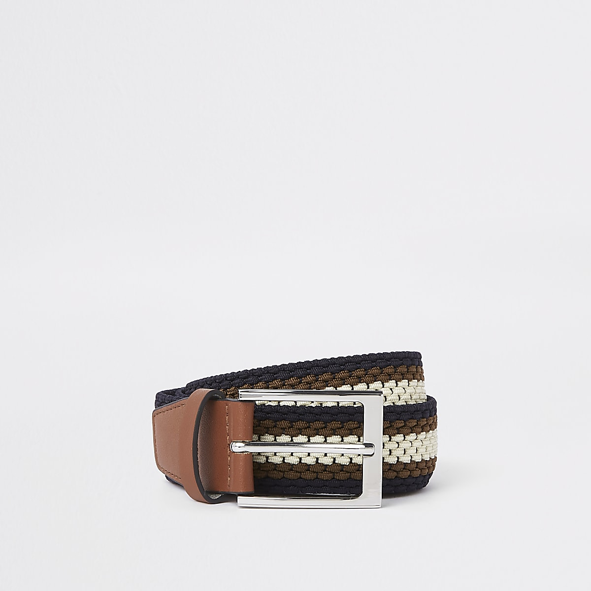 Brown stripe woven buckle belt