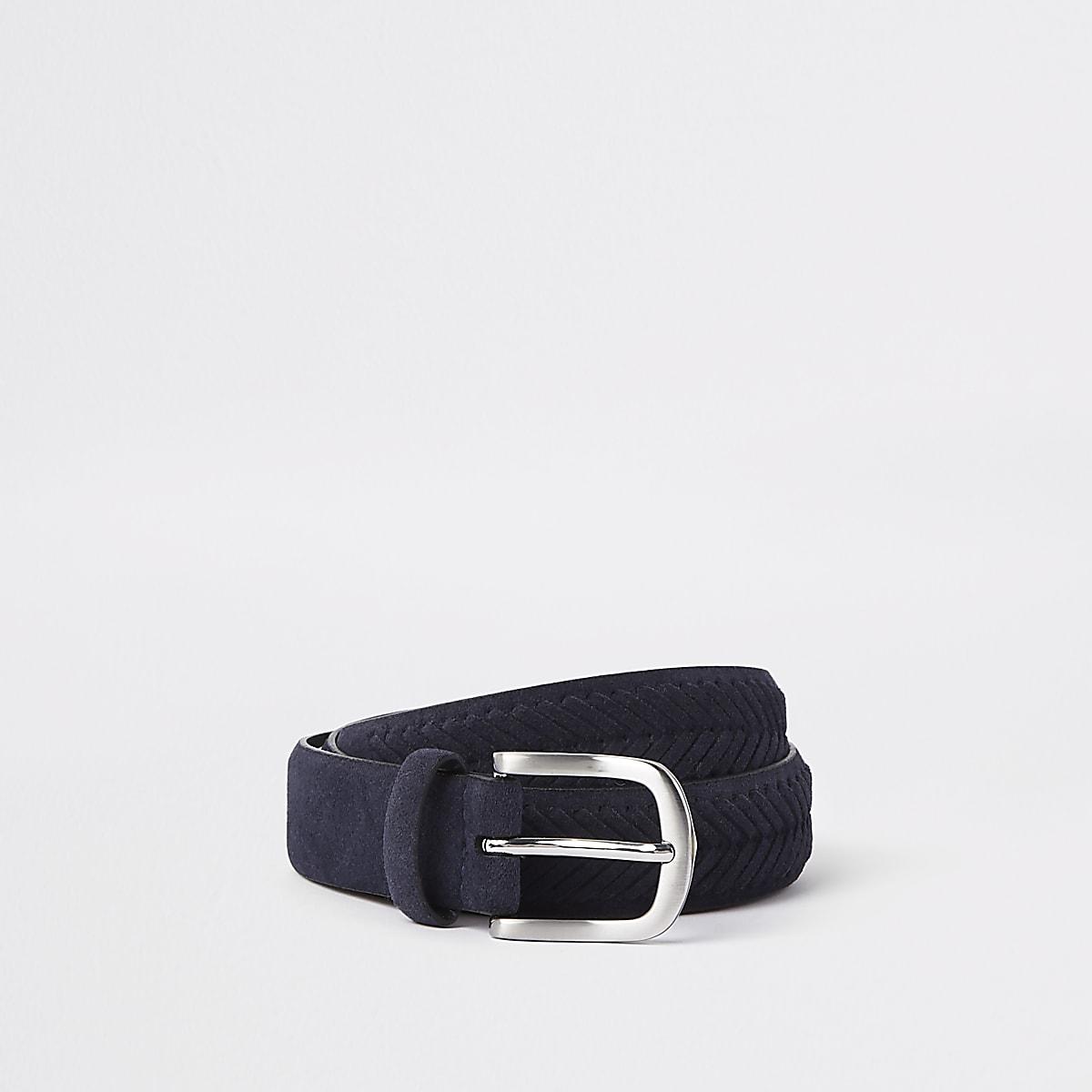 Navy faux suede woven belt