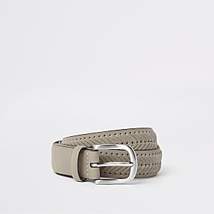 Brown suedette woven belt