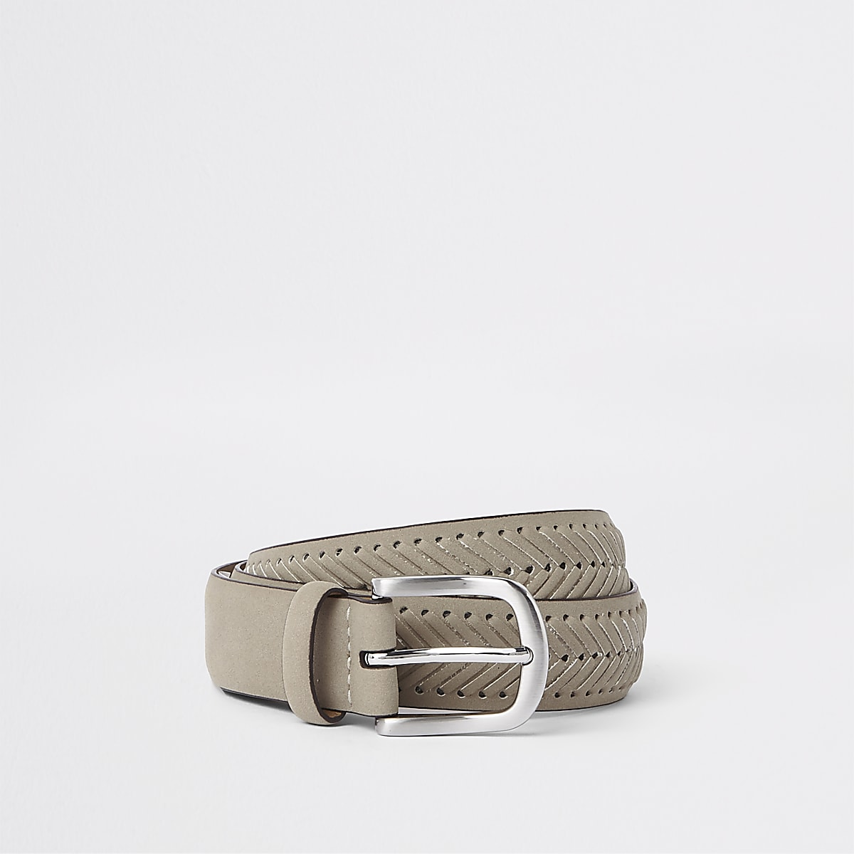 Brown suedette woven belt