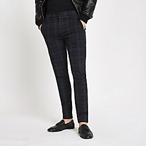 Marineblaue, karierte Skinny Fit Hose