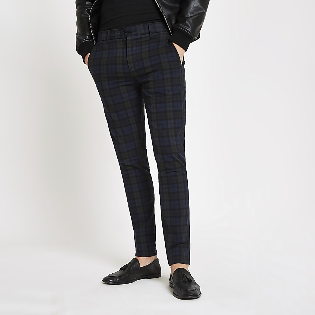 Navy check skinny fit trousers