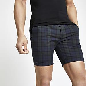 Marineblaue, karierte Skinny Shorts