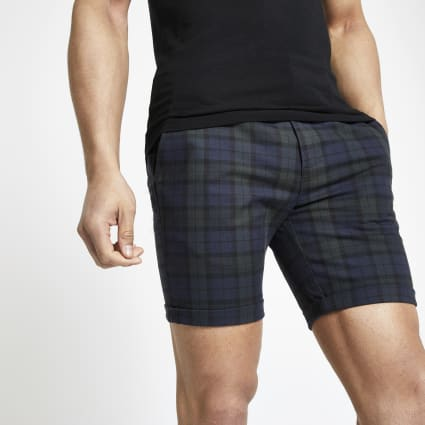 Navy check skinny chino shorts