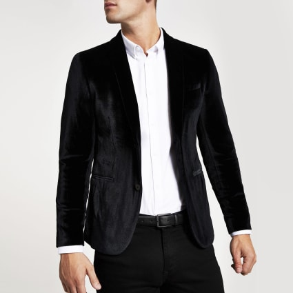 Black super skinny velvet long sleeve blazer