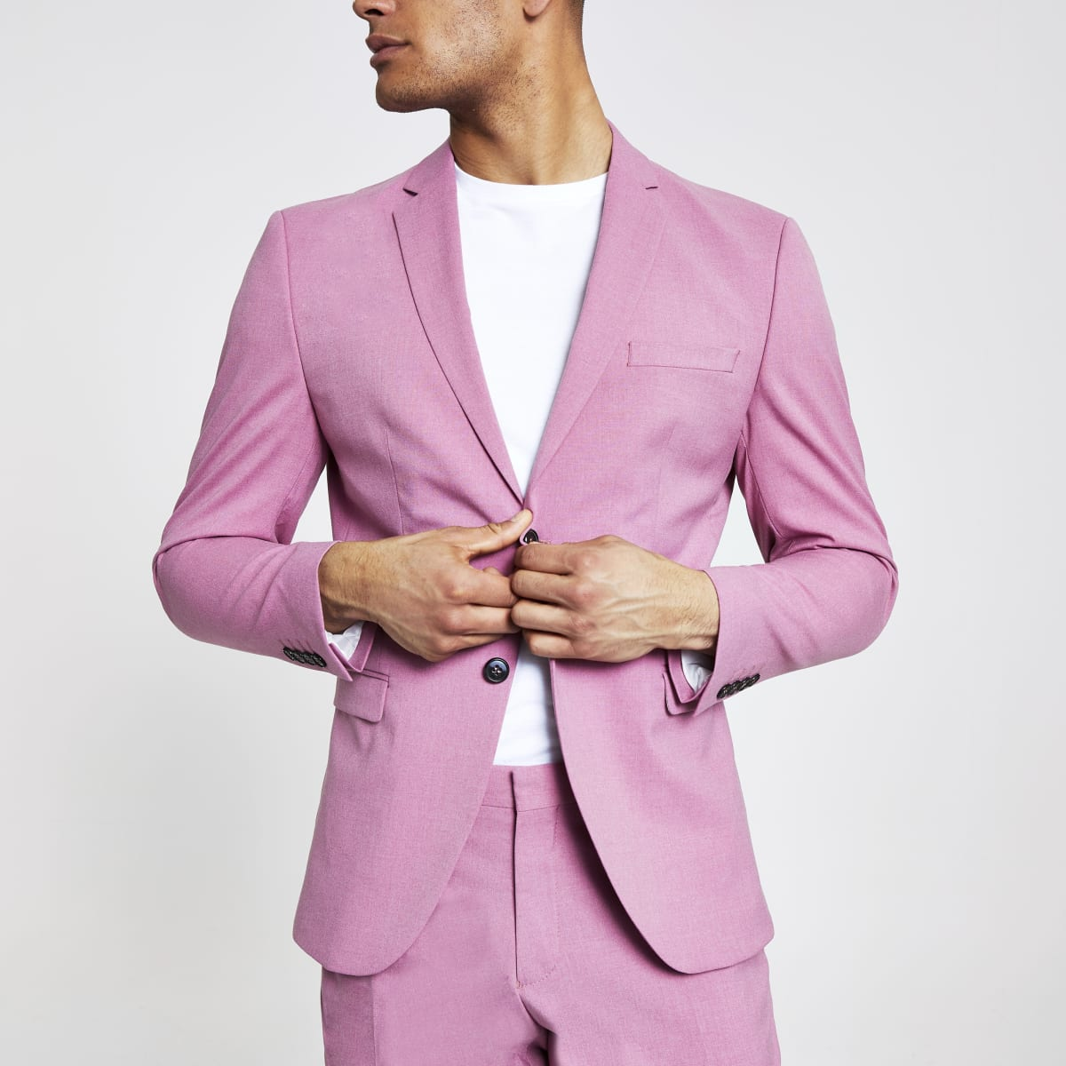 Selected Homme pink slim fit suit jacket