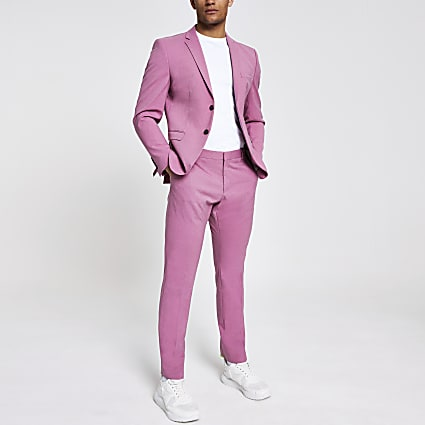 Selected Homme pink slim fit suit trousers