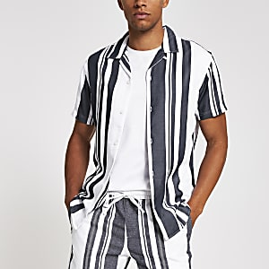 Selected Homme – Chemise manches courtes rayée bleu marine