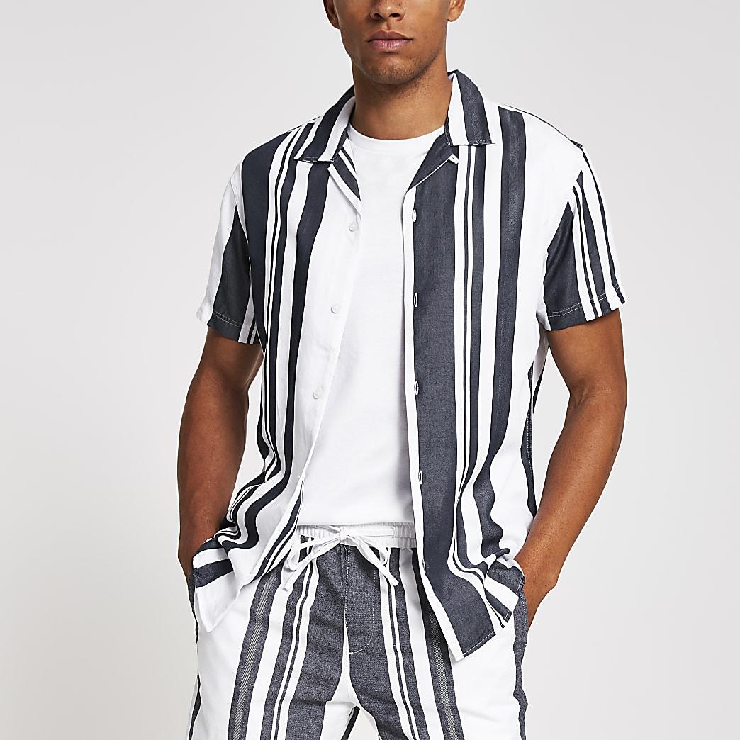 Selected Homme - Marineblauw gestreept overhemd met normale pasvorm