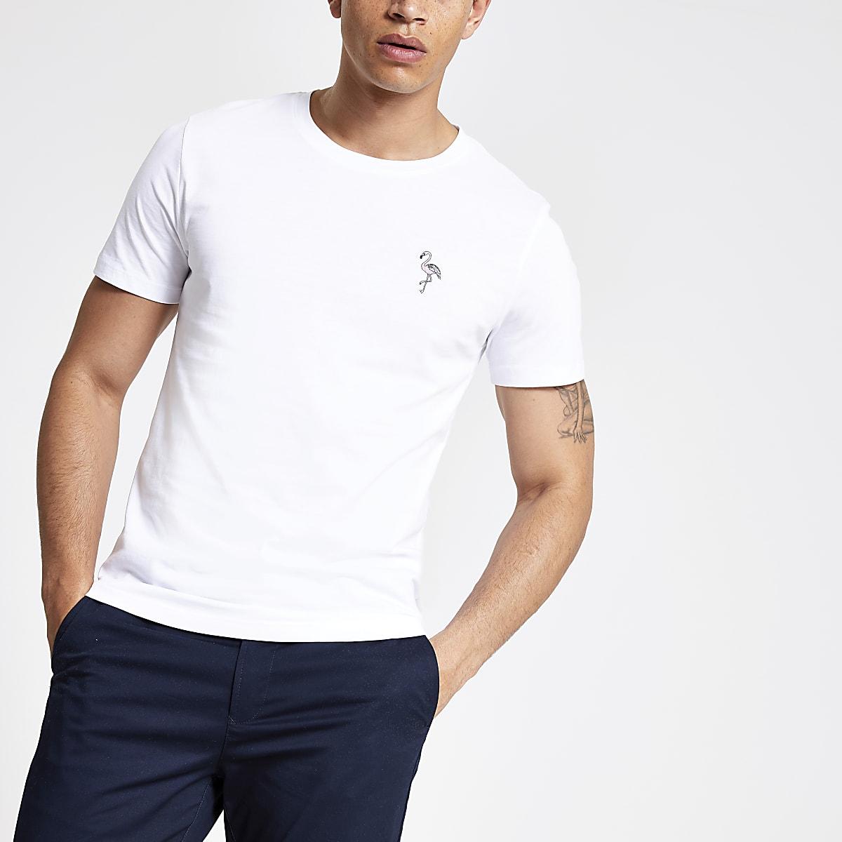 Selected Homme – T-shirt imprimé flamants blanc