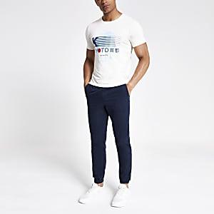 Selected Homme – Weißes, bedrucktes T-Shirt