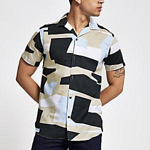 Selected Homme - Blauw overhemd met print en normale pasvorm