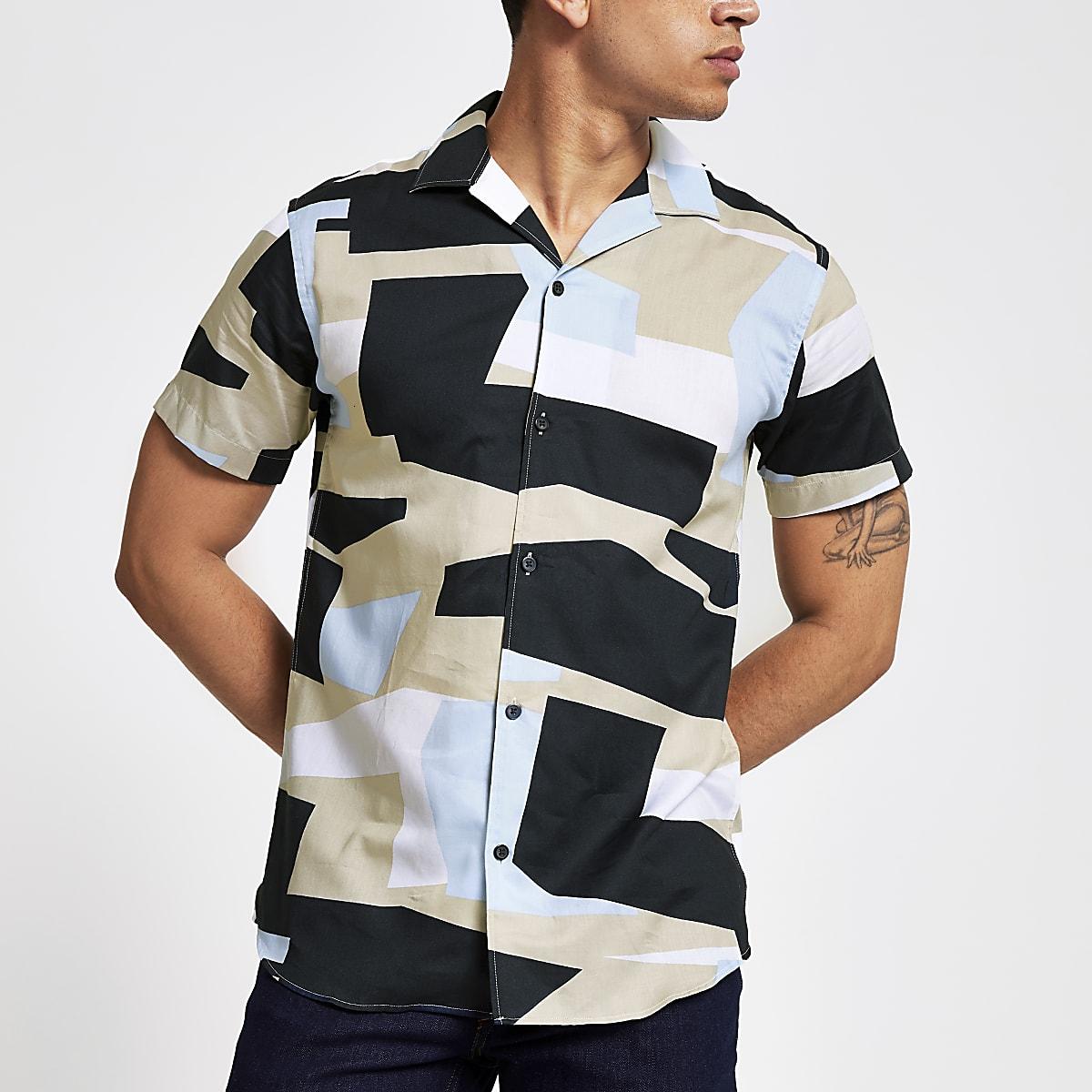 Selected Homme - Blauw overhemd met geometrische print en korte mouwen