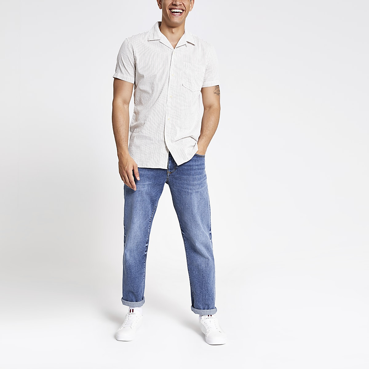 Selected Homme ecru slim fit stripe shirt