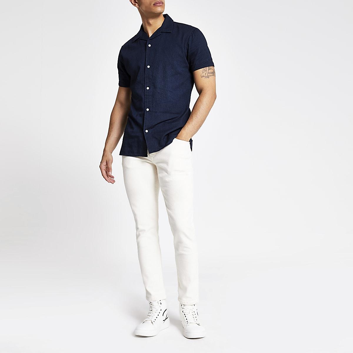 Selected Homme - Blauw denim overhemd met korte mouwen